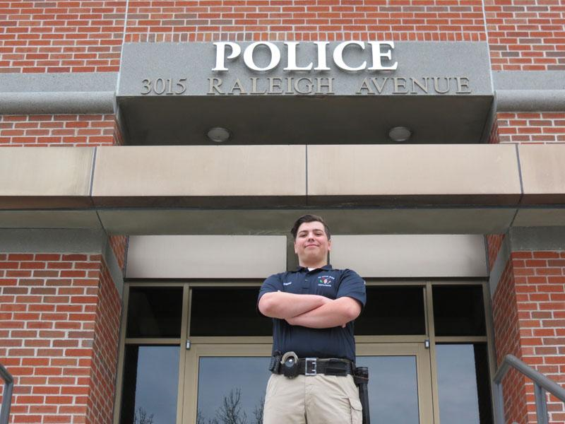Senior Elias Dehn stands outside the St. Louis Park Police Station before their weekly Police Explorers meeting April  5. Dehn plans on pursuing his interest to become an officer after he graduates high school.
