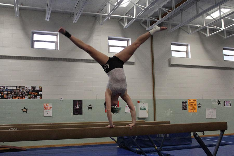 Senior captain Audrey Scalici practices after school with the gymnastics team. The season ended with the selection of three new captains.