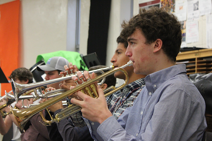 Sophomore+Ben+Klepfer+practices+the+trumpet+during+second+hour+band+April+26.+Klepfer+has+played+the+trumpet+for+six+years.+