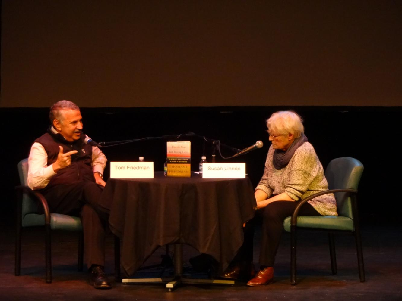 Distinguished journalist Susan Linnee interviews Park alumnus and bestselling author Thomas Friedman at the JCC April 30. Proceeds from the event go to support the St. Louis Park Historical Society's capital fund for a history center.