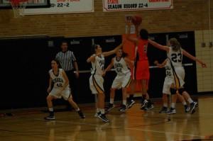 Freshman Mara Henderson pulls up for a jump-shot