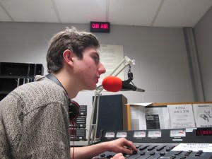 Senior Stefan Frazier announces the next songs from his prearranged set of playlists on 106.5 Park radio. The station airs from 8:00-8:40 a.m. everyday and in the afternoon from 3:30-4:30 p.m.