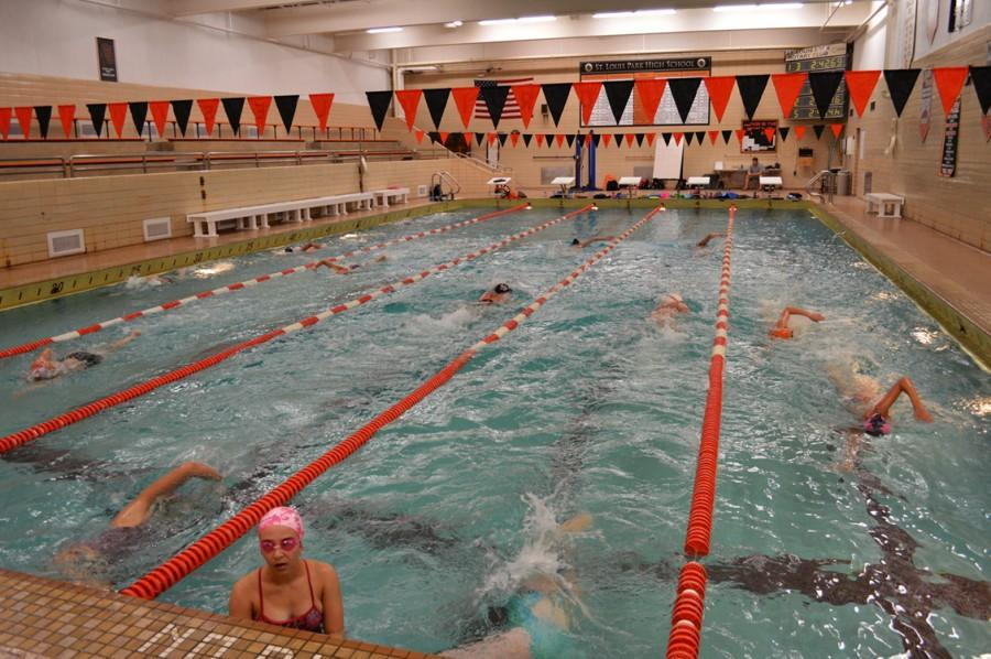 The girls swim team practices together on August 21.
