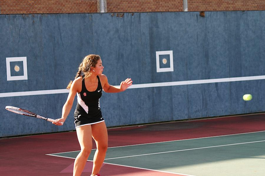 Sophomore Natalie Lorentz focuses on returning the ball during Park's 7-0 win against the Cooper Hawks on Sept. 11.