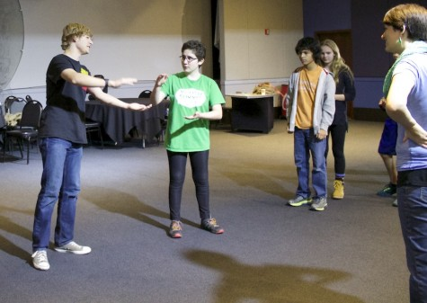 Sophomore Elise Bargman warms up her improvisational skills by acting out a scene with a partner as part of a group comedy activity on Oct. 12 at the Brave New Workshop.