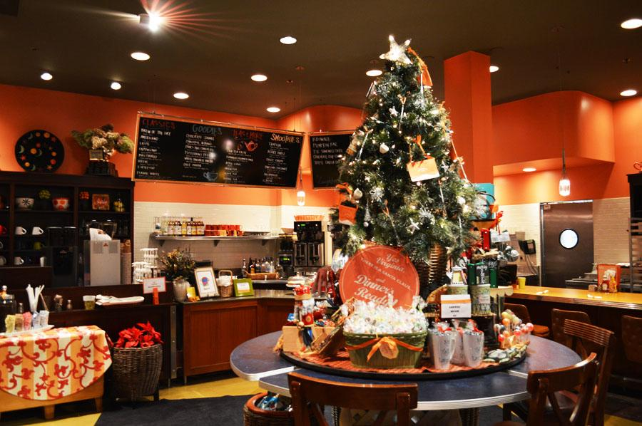 The festively decorated interior makes drinking coffee all the merrier.
