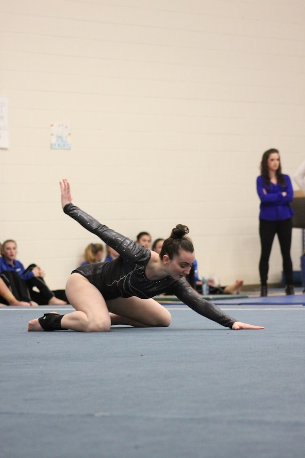 Sophomore+Audrey+Scalici+finishes+her+floor+routine+during+Park%27s+loss+to+Hopkins+Jan.+29.