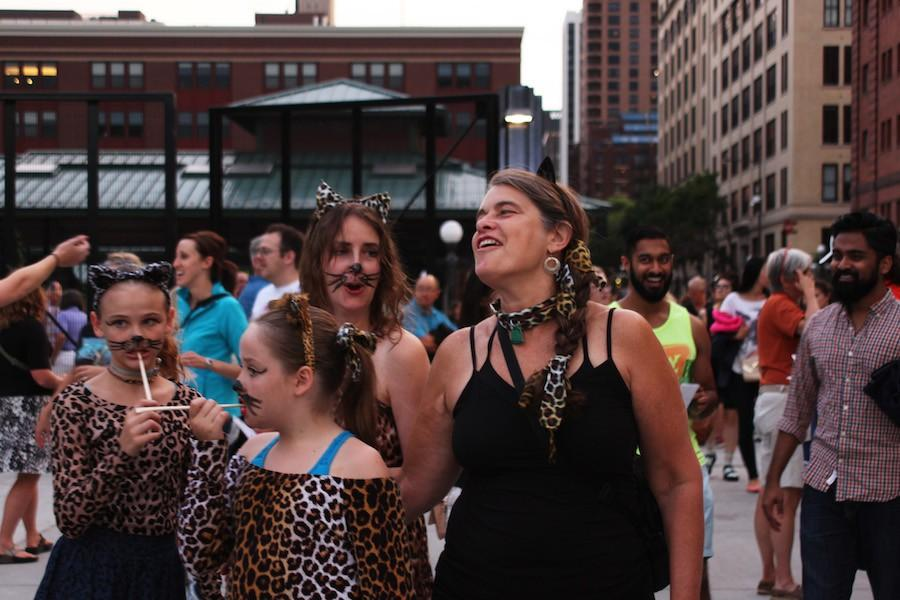 A family dresses up as cats to attend the Internet Cat Video Festival Aug. 12.