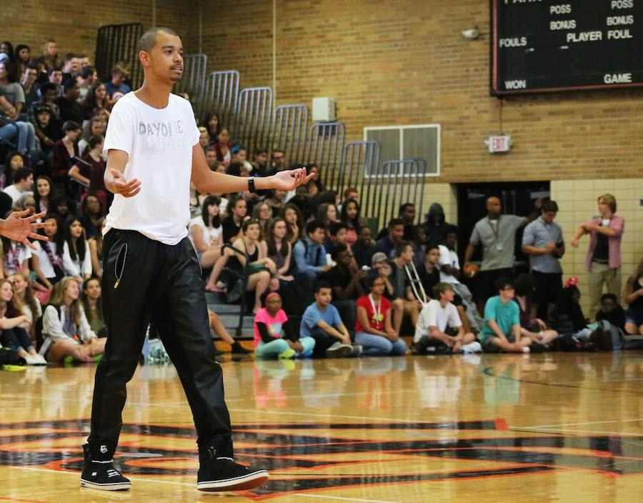 Junior+Tre+Givens+shows+off+his+dancing+skills+at+the+Day+One+pep-fest+Sept.+8.