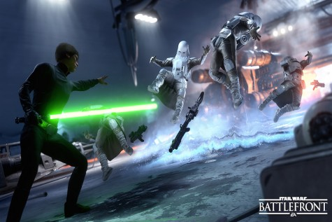 Luke Skywalker uses his force push to take out a group of snowtroopers.