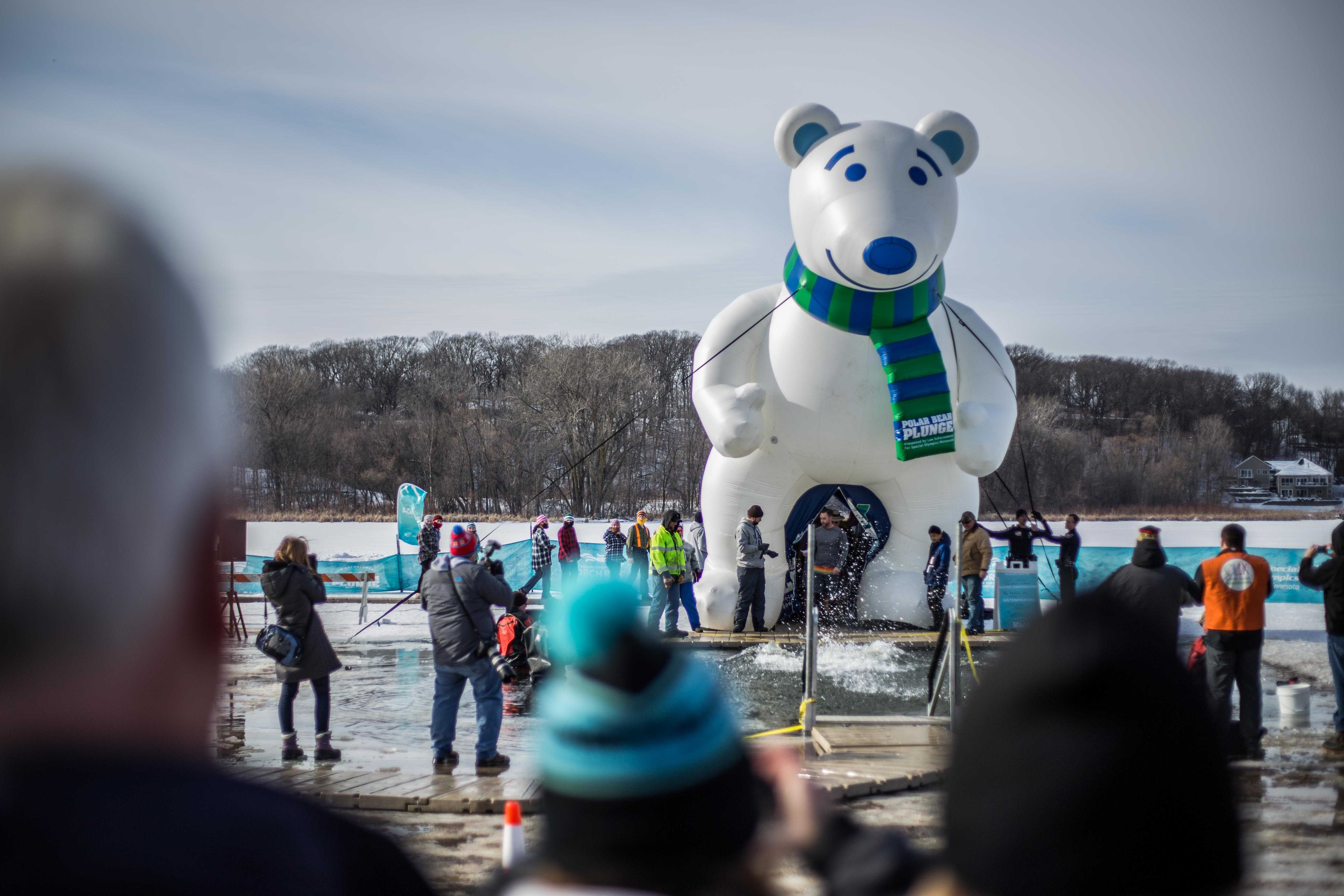 Brave the cold: Polar Plunge participants jump in the near-freezing water to benefit multiple charities Feb. 6 in Maple Grove. Charities include the Special Olympics.