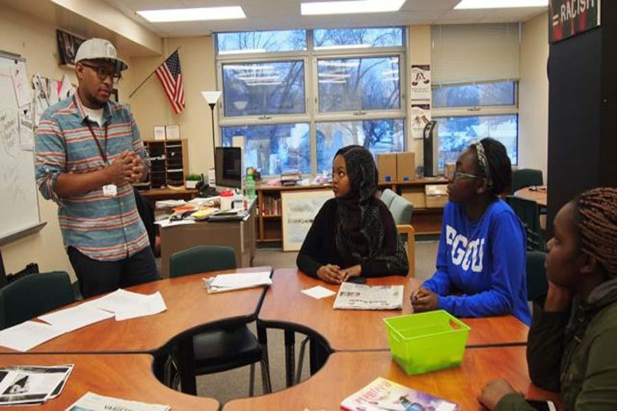 Seniors Salma Mohamed, Sharon Moranga and sophomore Doreen Moranga met with Chris Weaver Feb. 4 in the Learning Lab to plan the events for the Black History Month presentation. The show will take place during second and fourth hours Feb. 29 in the Auditorium and feature performances from students.