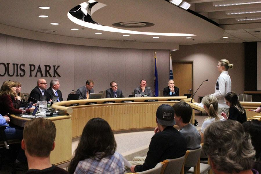 Junior Roots and Shoots member Owen Geier presents a statement St. Louis Park City Council supporting a petition  about increasing environmental sustainability.