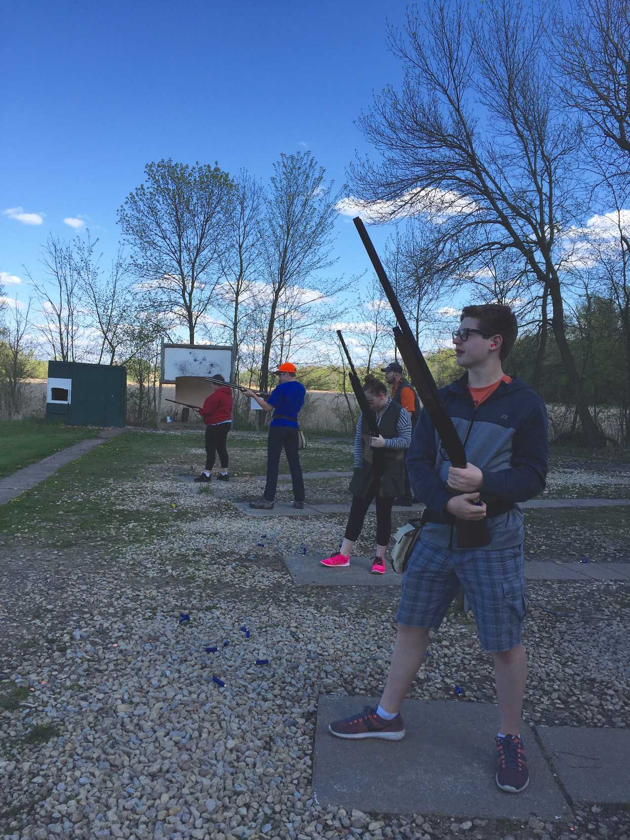 Participants in the Saint Louis Park clay target club line up for a shot at the Horse and Hunt Club in Prior Lake, MN.