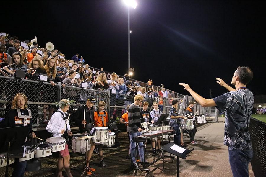 Pep band performs during a home football game against Robbinsdale Armstrong Sep. 9.
