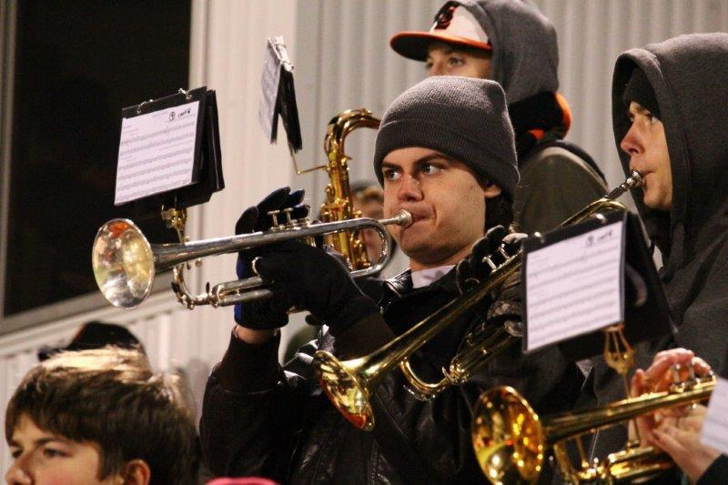Junior+trumpet+player+Owen+Erickson+performs+at+halftime+during+the+homecoming+football+game+Oct.+7.