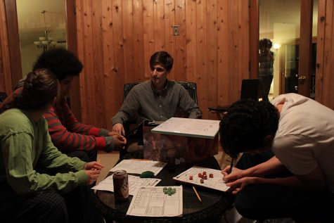 Seniors Simon Lewin and Eric Manuel, founders of the Dungeons and Dragons club at Park, play the game with friends. The club will meet after school Mondays and Thursdays.