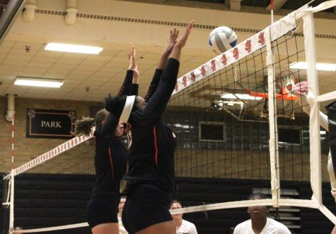 Girl's volleyball wins first section game