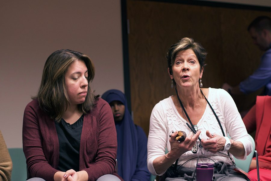 Director of Students Lauren Buxton speaks to students while counselor Heidi Cosgrove observes during a Nov. 14 forum in C350 on race relations at Park. Students voiced concern regarding a recent alleged incident where a senior pulled off a freshman's hijab. Echo's investigation into recent incidences at Park and their handling by the administration is ongoing.