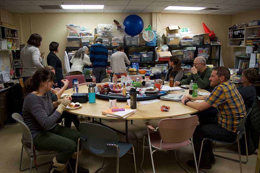 Science department gathers for weekly potluck on Jan. 10.