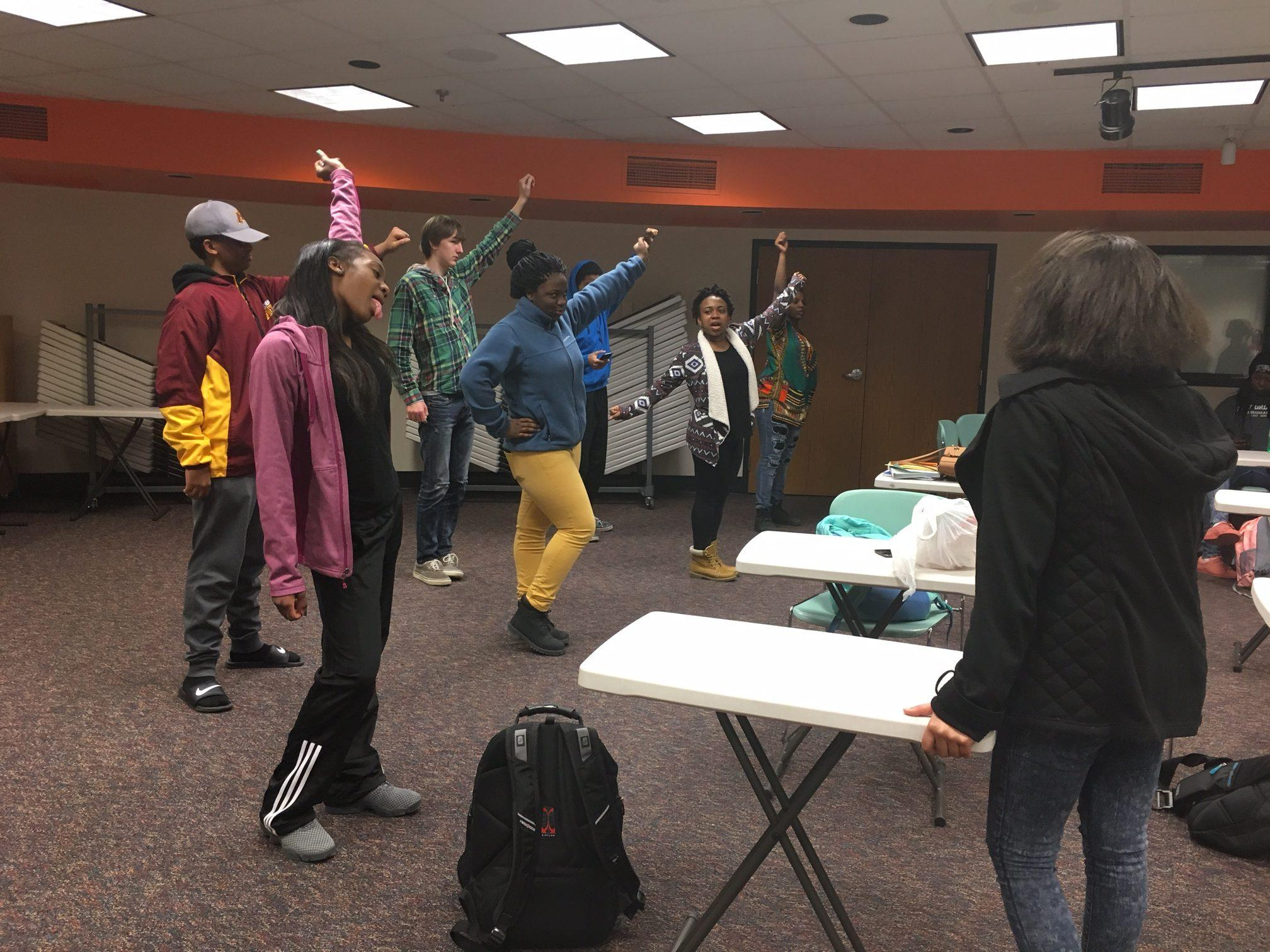 Students practice their routine for the Multicultural show Feb. 15. The Multicultural show takes place March 10 in the auditorium.