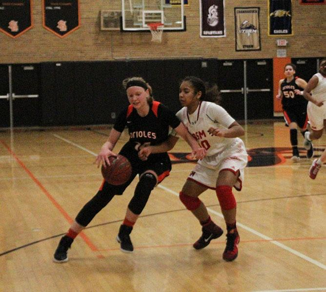 Sophomore+Lindsey+Olson+dribbles+past+a+Benilde+defender.+The+Orioles+beat+the+Red+Knights+63-46.