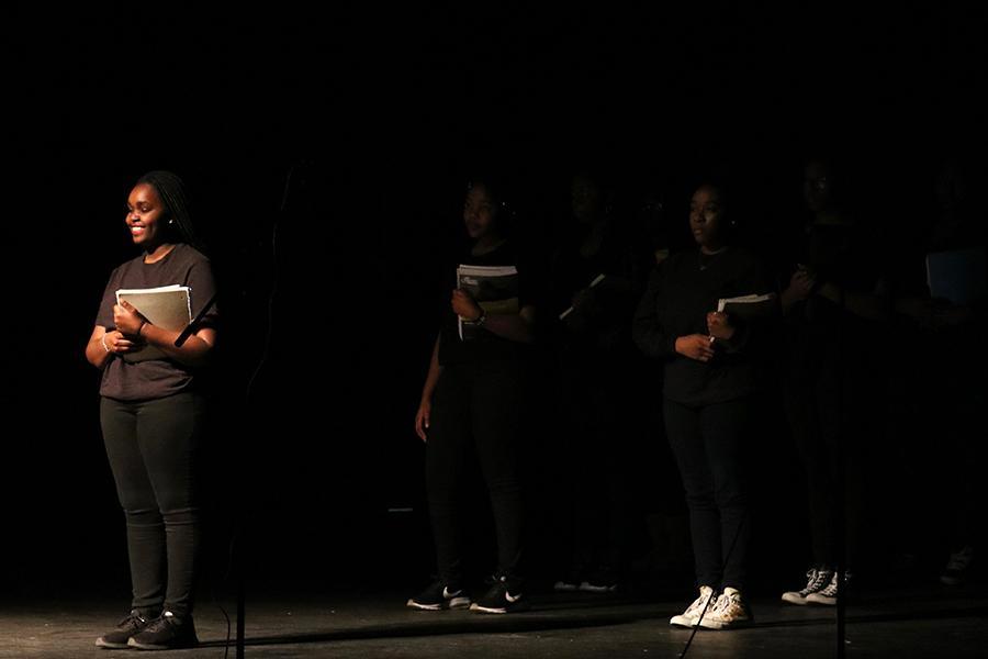 Junior+Doreen+Moranga+during+the+Black+History+Month+performance.+Moranga+took+on+multiple+roles+during+the+performance+on+Friday.