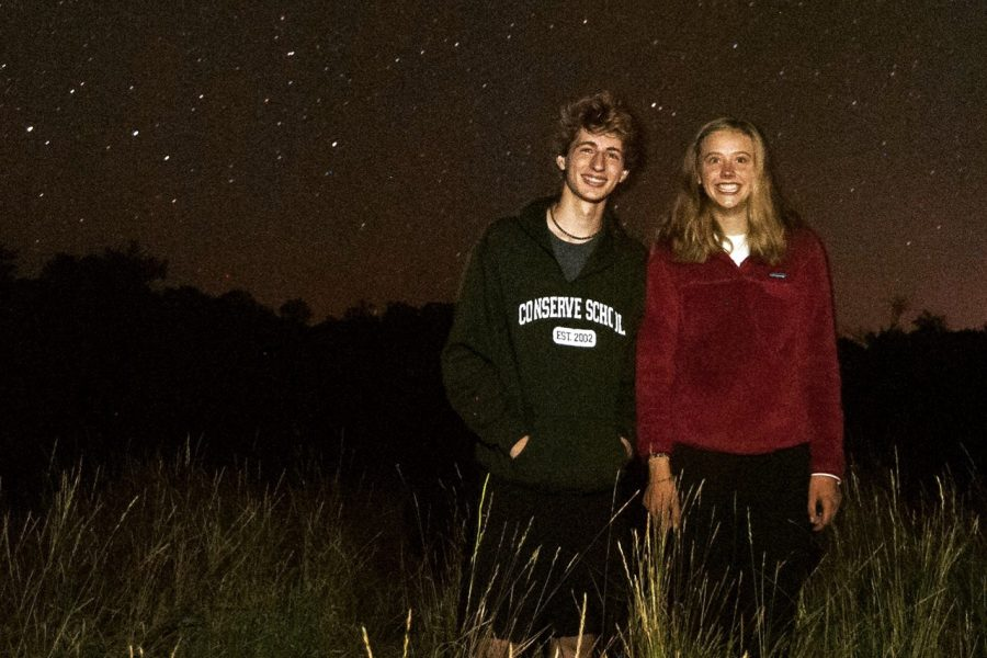Juniors+Caroline+Green+and+Lukas+Wrede+stand+under+the+Northern+Lights.+They+both+returned+to+Park+in+Dec.+after+spending+the+past+semester+at+Conserve+School.+