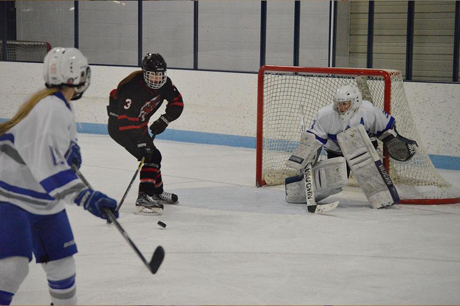 Senior goaltender Annika Carlander prepares to deny an Eden Prairie forward. Park/Hopkins lost 7-1 to the Eagles