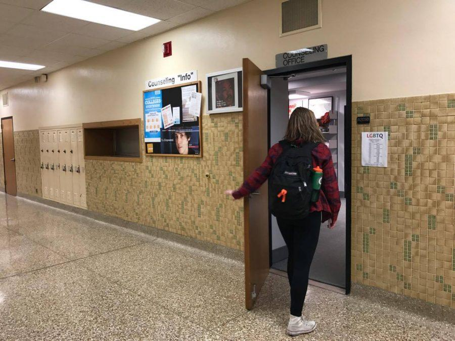 Sophomore Savannah Romero enters the Counseling Office. Students should visit the office in room A205B to pay the senior fee.