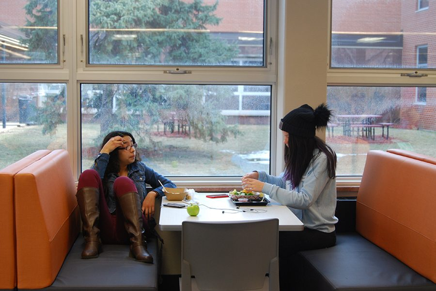 Sophomore Shellcie SalasRea and Junior Ashley Durand eat lunch in new cafeteria booths Feb. 27. As part of a referendum the School Board hopes to update furniture and expand the lunch room.