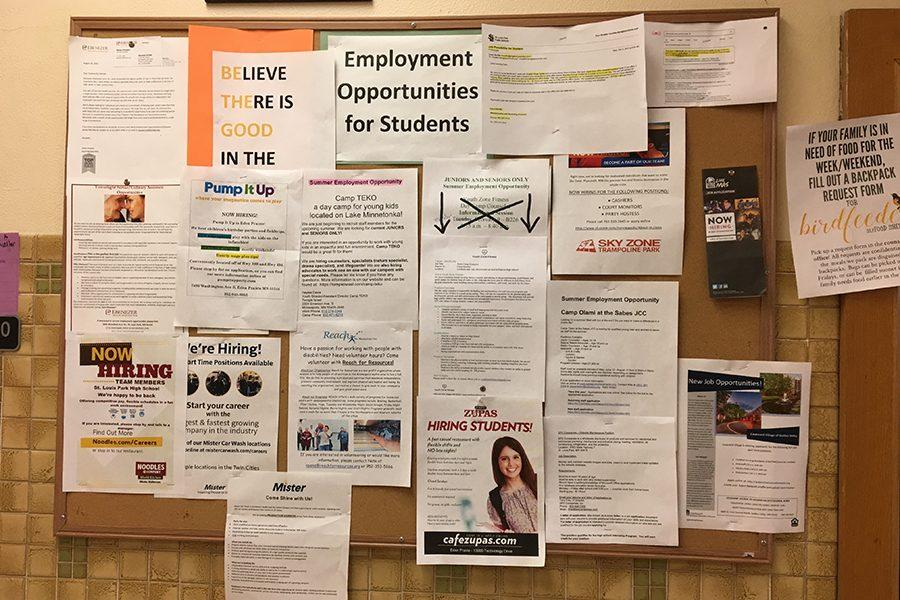Job+opportunities+for+students+posted+on+the+bulletin+board+outside+B220.