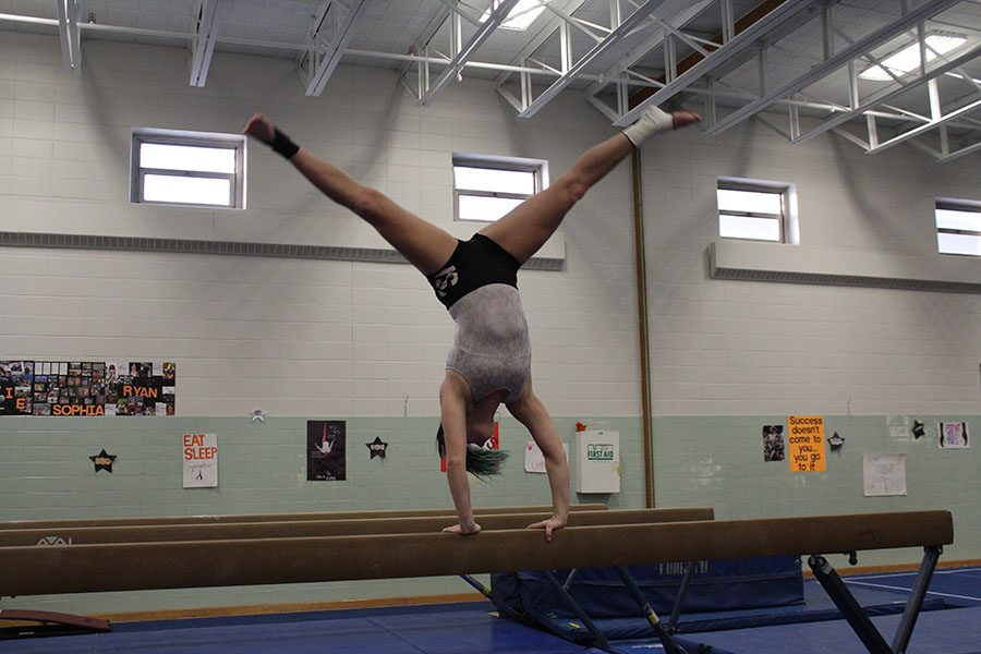 Senior+captain+Audrey+Scalici+practices+after+school+with+the+gymnastics+team.+The+season+ended+with+the+selection+of+three+new+captains.+