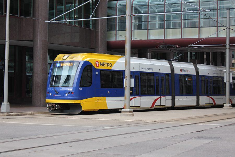 The Minneapolis/St. Paul METRO Lightrail Green Line travels down Marquette Avenue and 5th Street in downtown Minneapolis March 19. The proposed Southwest light rail is currently in the process of receiving funding for construction.