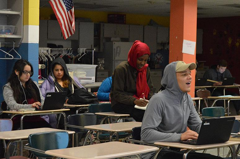 Senior Devante Childress attends the Non-Traditional Academy during fourth hour March 13.