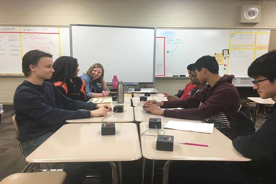 Sophomore+Quiz+Bowl+members+Aaron+Kasic%2C+Ayanna+Nathan+and+Jenna+Cook+compete+in+final+tournament+Saturday%2C+March+18+at+Burnsville+High+School.+Team+members+will+compete+at+Nationals+May+26-28.+