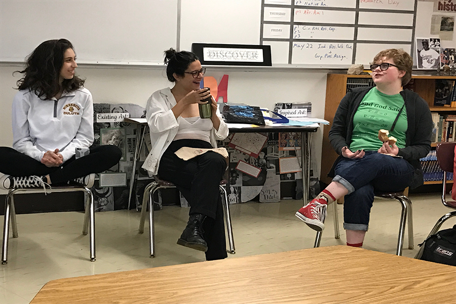 Junior Avia Kaner-Roth and seniors Amira Stone and Freja Olsen discuss sexism within the school community May 18. This meeting was the final Feminism Club meeting of the year.