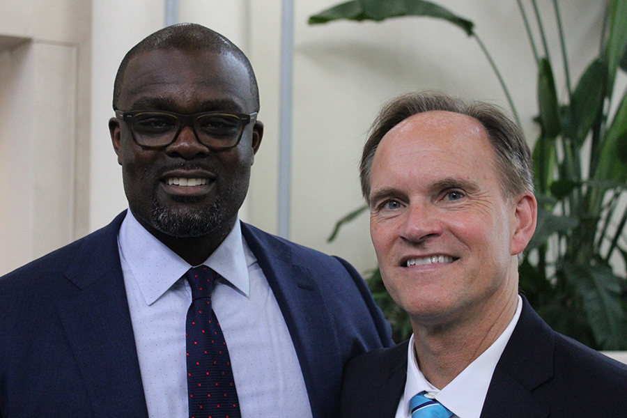 Outgoing superintendent Rob Metz with incoming superintendent Astein Osei at Metz's retirement reception on May 18.