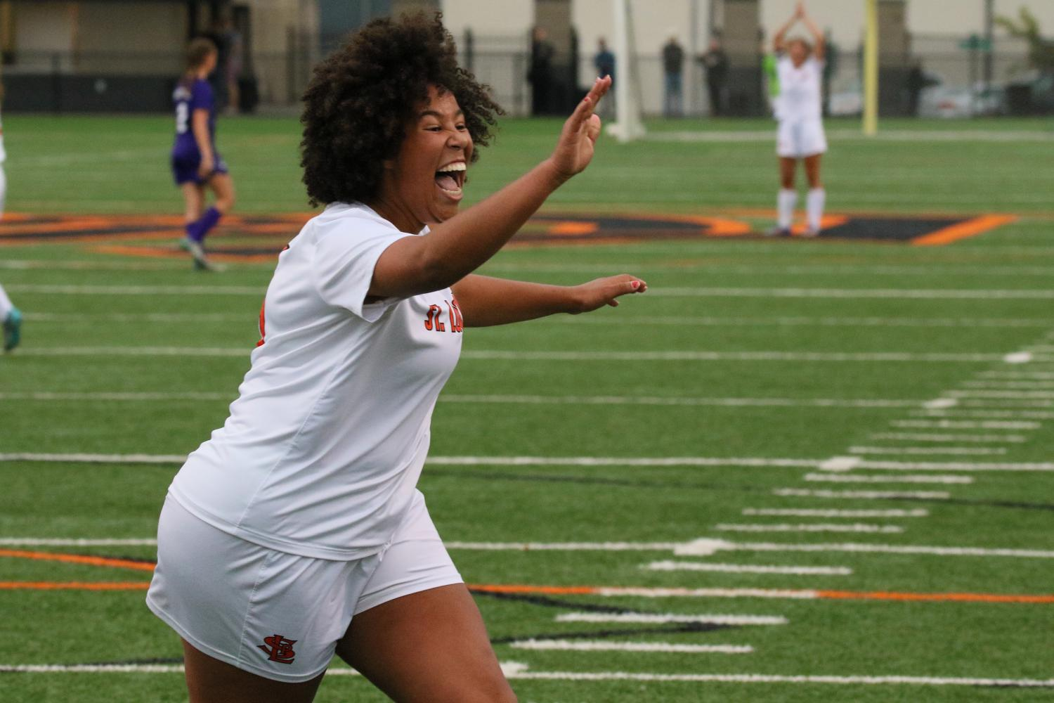 Senior Rosa Sigrunardottir celebrates after scoring a goal against Minneapolis Southwest on September 25th.