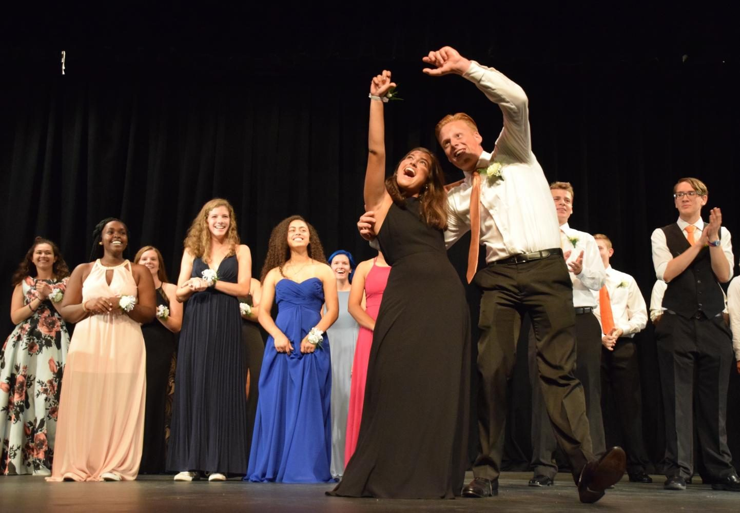 Seniors+Sophie+Yarosh+and+Alec+Pittman+fake+taking+a+selfie+on+stage+during+Wednesdays+coronation+ceremony%2C+Sept%2C+13.+