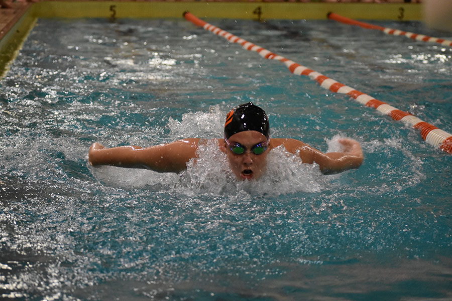 Junior Mazie Lainsbury cuts through the water during a butterfly event against Chaska Sept. 7. Park won the last event, the 400 free relay, to clinch a 48-46 win.