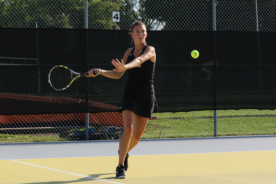 Junior Violet Huber sets up for a down-the-line forehand shot in her match against Bloomington Kennedy on September 7th. Huber played with Senior Maddie Lund and won their match 6-0 6-0. St. Louis Park won their match 7-0.