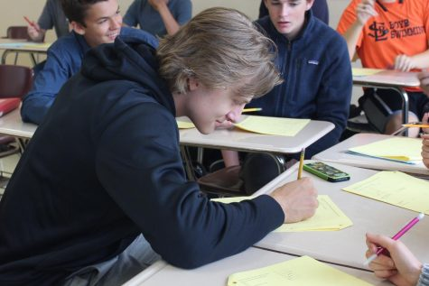 Senior Ian Sandbo takes test in math class on Sep. 23. No students qualified for the National Merit Award this year.