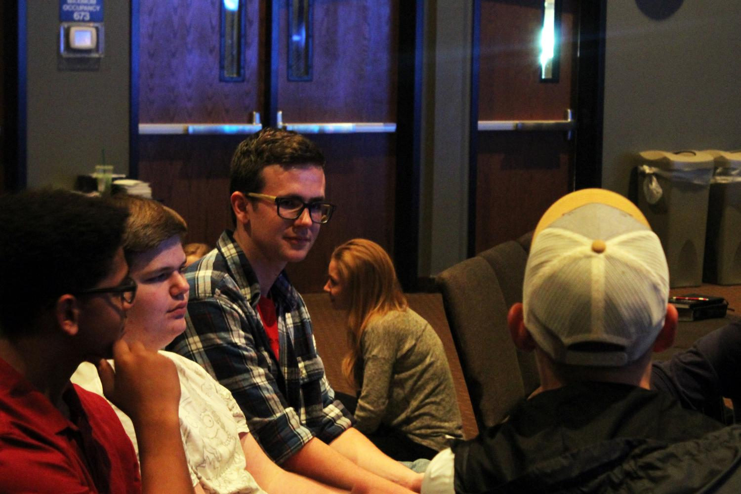 Senior Austin Patterson discusses in his youth group on September 27.
