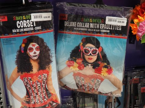 Day of the Dead costumes on display at Party City.