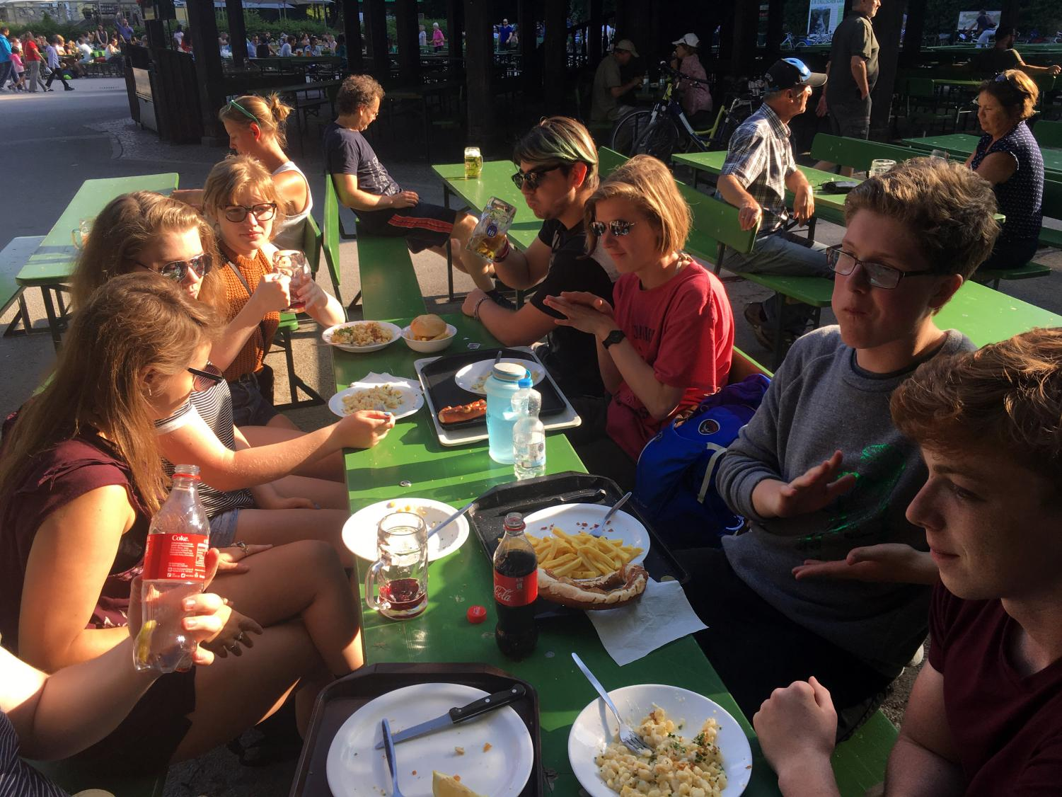 Park Students eat lunch at a famous Biergarten after a historical bike ride around Munich. The students lived with host families in the German town of Bensheim and their host siblings will be visiting Park in February. Photo used with permission from Shari Fox.