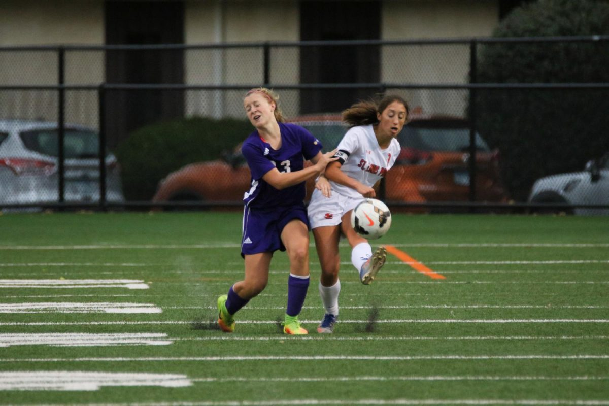 Senior captain Alex Balfour clears the ball up field against Minneapolis Southwest. Park beat the Lakers 1-0.