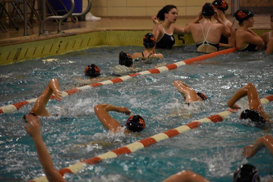 Girls swimming warms-