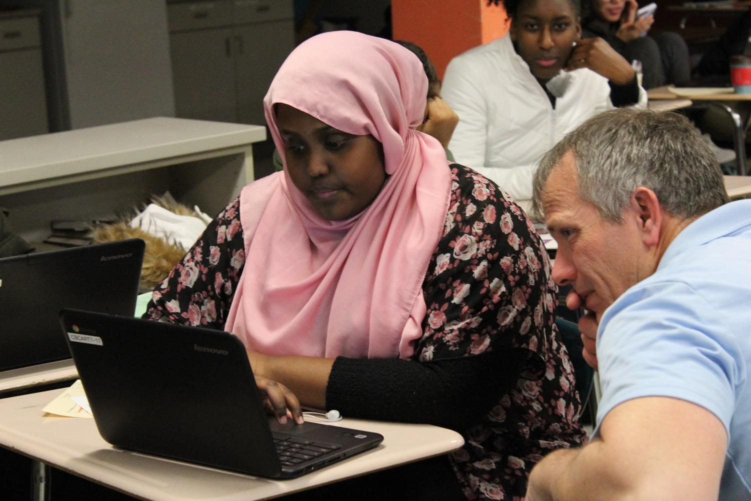 Senior Rahma Farah works on a math project where students created their own video game in her fifth hour NTA class Nov. 9.