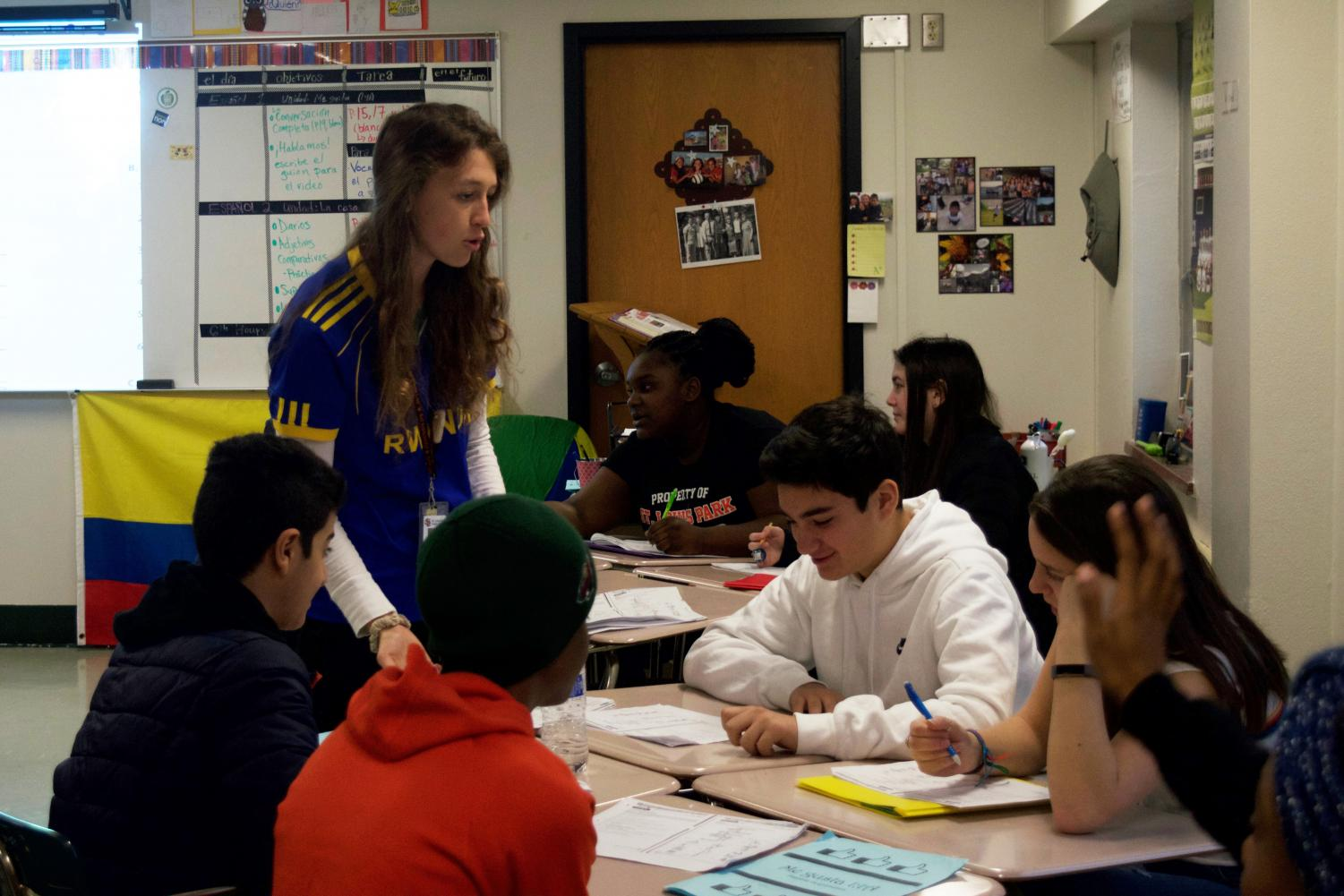 First-year Spanish teacher Lydia Brubaker helps students complete their work on Nov 1. Lydia Brubaker is the daughter of social studies teacher Bradley Brubaker.